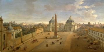 Gaspar Van Wittel, Veduta di piazza del Popolo a Roma, 1718